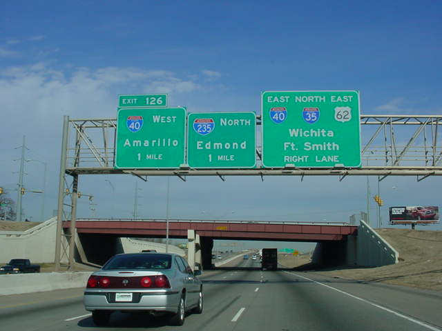 Interstate 35 North approaching Interstate 40 and Interstate 235