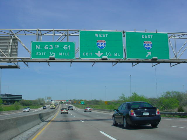 Interstate 235 North at unmarked Exit 4B - Interstate 44 East
