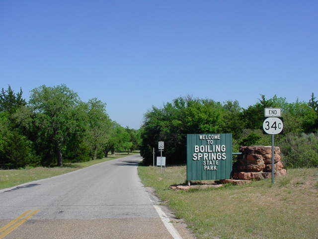 End OK 34C signage at Boiling Springs State Park