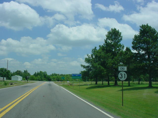 End OK 31 signage near U.S. 59