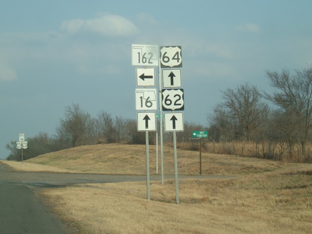 U.S. 62/U.S. 64/OK 16 East at OK 162 North